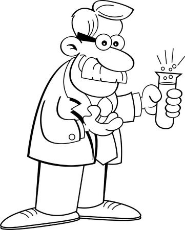 Black and white illustration of a scientist holding a test tube  Ilustrace