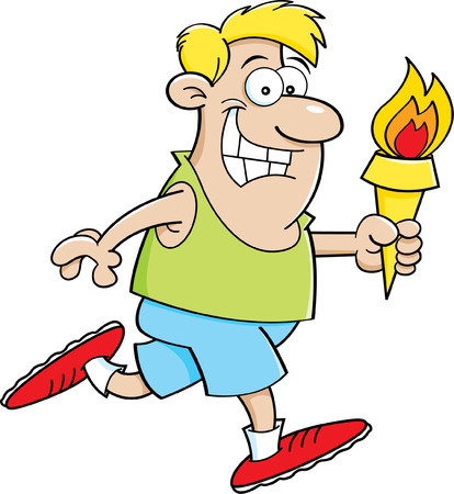 Cartoon illustration of a man running holding a torch