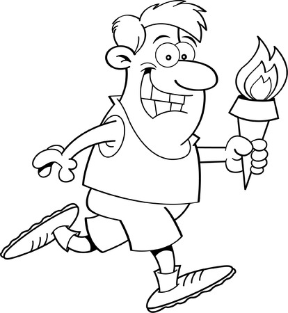 Black and white illustration of a man running holding a torch  Vector