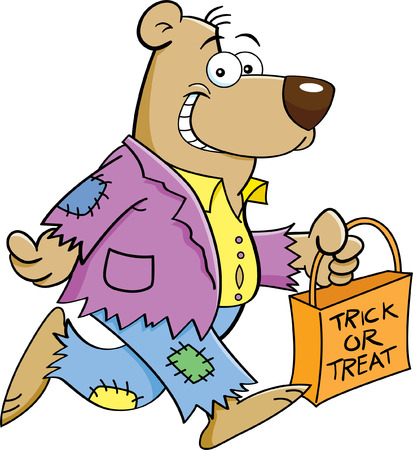 treating: Cartoon illustration of a bear in a costume and trick or treating