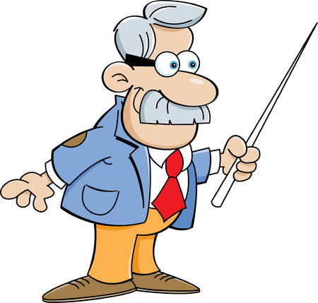 Cartoon illustration of a man holding a pointer
