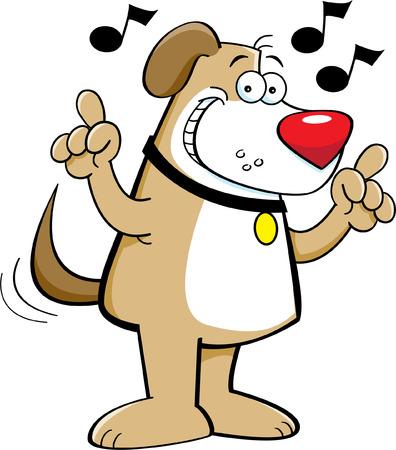 Cartoon illustration of a dog singing