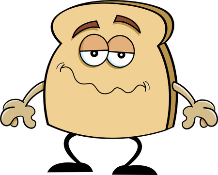 toasted: Cartoon illustration of a frowning piece of toast  Illustration