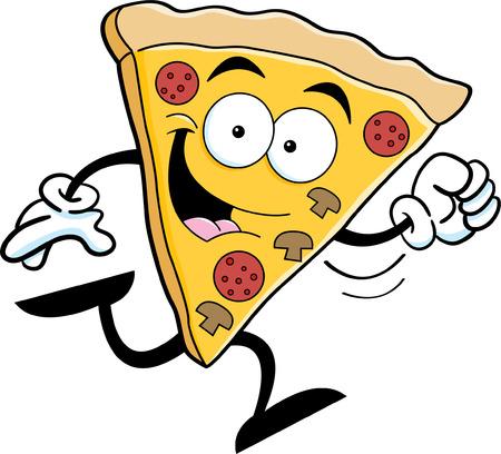 実行しているピザのスライスの漫画イラスト