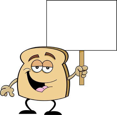 Cartoon illustration of a slice of bread holding a sign  Illustration