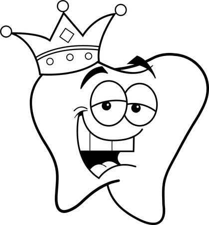 Black and white illustration of a tooth wearing a crown  Vector
