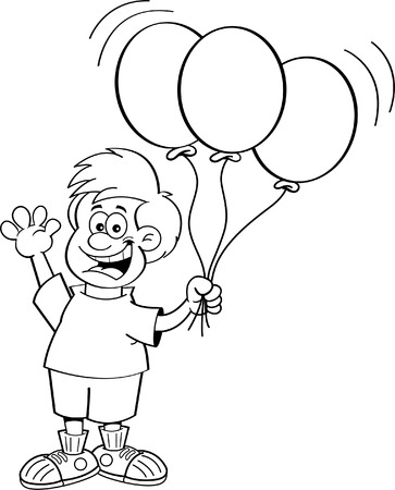 balloons party: Black and white illustration of a boy holding balloons