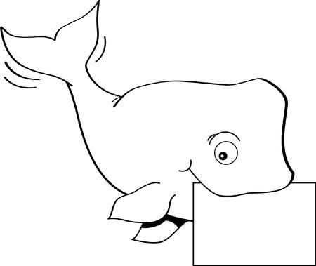 Black and white illustration of a whale holding a sign  Vector