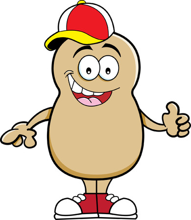 Cartoon illustration of a potato wearing a baseball cap  Ilustração