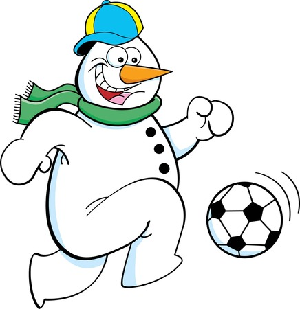 Cartoon illustration of a snowman playing soccer  Vector