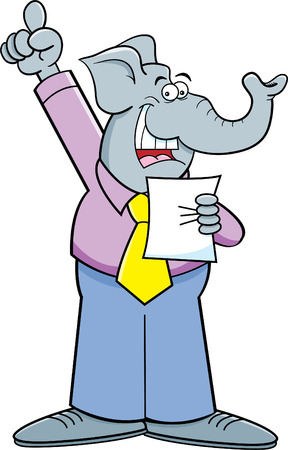 Cartoon illustration of an elephant giving a speech