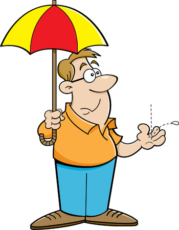 Cartoon illustration of a man holding an umbrella  Vectores