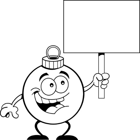 december 25th: Black and white illustration of an ornament holding a sign  Illustration