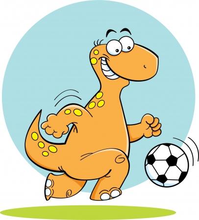 dinosaurio caricatura: Ilustración de la historieta de un dinosaurio de juego de fútbol Vectores