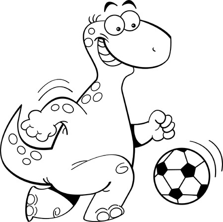 Black and white illustration of a dinosaur playing soccer Illustration
