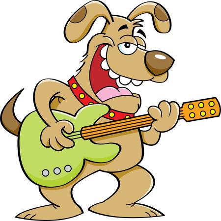pooch: Cartoon illustration of a dog playing a guitar