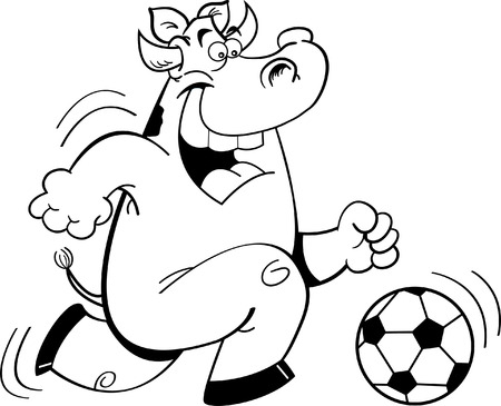 Black and white illustration of a cow playing soccer  Vector