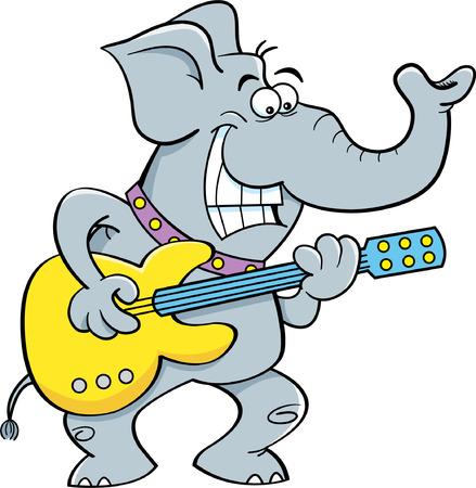 Cartoon illustration of a elephant playing a guitar  Ilustrace