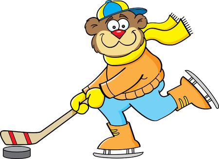 hockey skates: Cartoon illustration of a bear playing hockey  Illustration