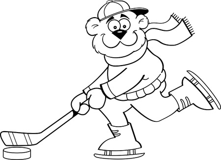 Black and white illustration of a bear playing hockey  Vector