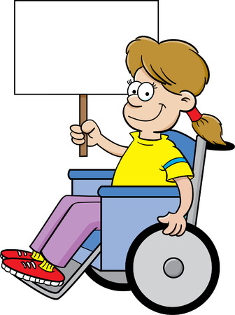 Cartoon illustration of a girl in a wheelchair holding a sign