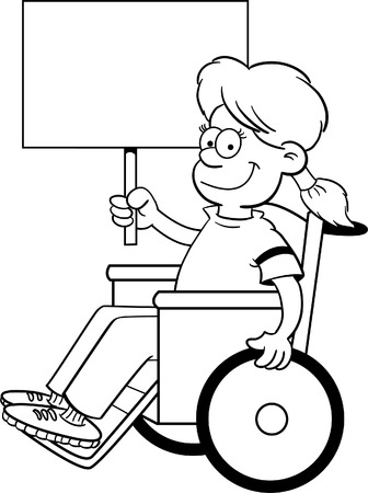 Black and white illustration of a girl in a wheelchair holding a sign  Illustration