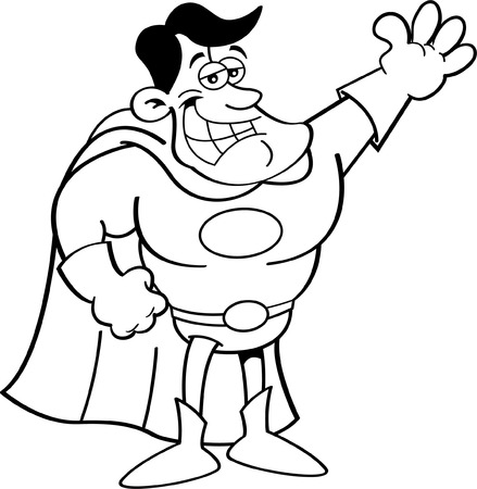 Black and white illustration of a superhero waving