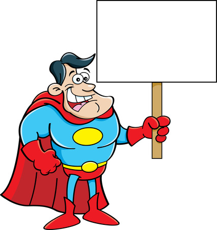 Cartoon illustration of a superhero holding a sign  Vector