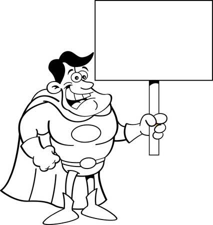 Black and white illustration of a superhero holding a sign  Vector