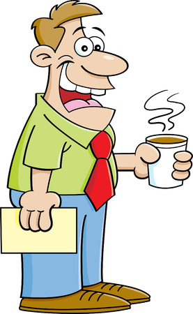 Cartoon illustration of a man holding a coffee cup