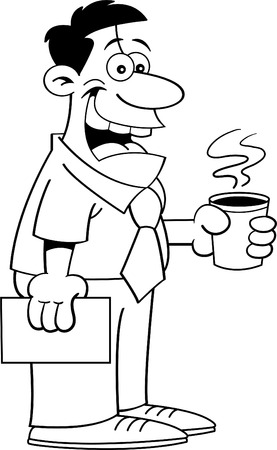 Black and white illustration of a man holding a coffee cup