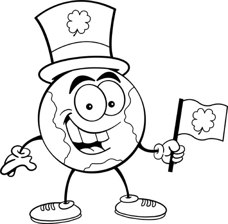 Black and white illustration of the earth holding an Irish flag and wearing a top hat Vector