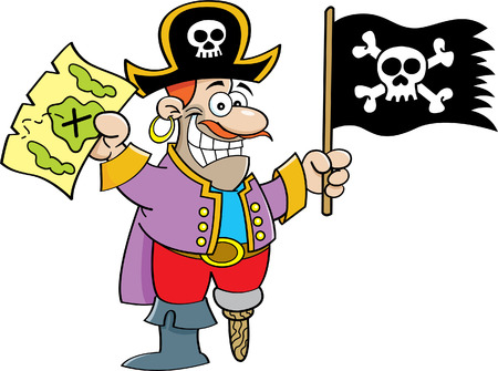 Cartoon illustration of a pirate holding a flag and map
