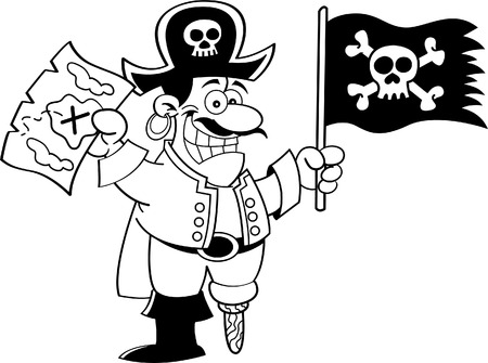 wooden leg: Black and white illustration of a pirate holding a flag and map  Illustration
