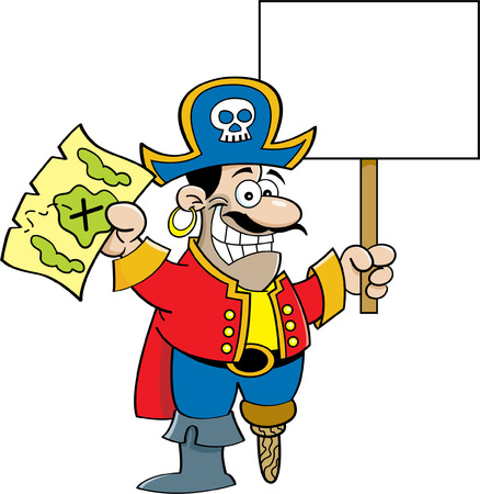 wooden leg: Cartoon illustration of a pirate holding a map and a sign