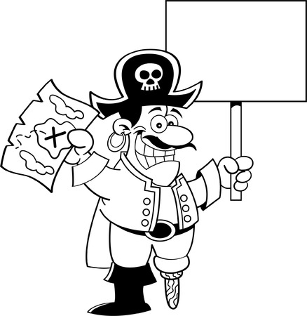 Black and white illustration of a pirate holding a map and a sign