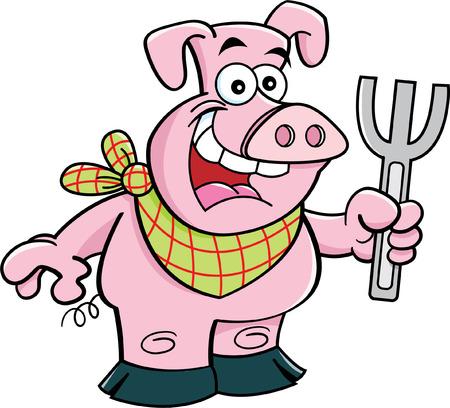 Cartoon illustration of a pig holding a fork