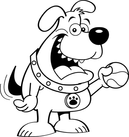 Black and white illustration of  dog holding a ball