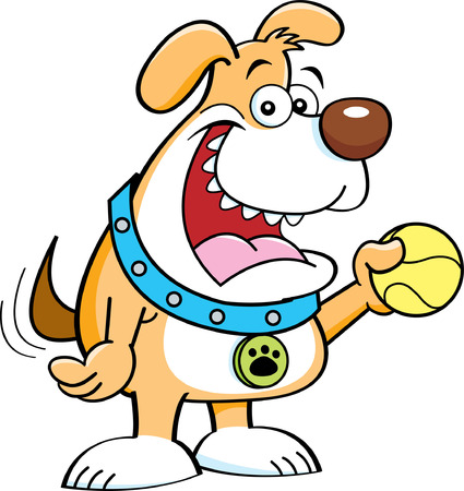 Cartoon illustration of  dog holding a ball
