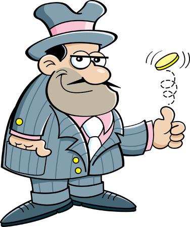 Cartoon illustratie van een gangster het opgooien van een munt