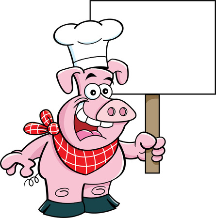 Cartoon illustration of a pig wearing a chef s hat and holding a sign  Vectores