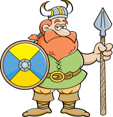 norseman: Cartoon illustration of a viking holding a shield and a spear