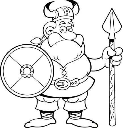 Black and white illustration of a viking holding a shield and a spear