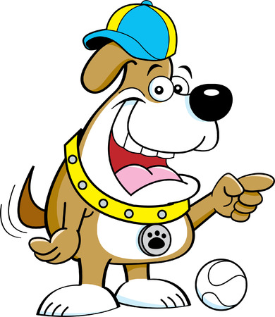 indicating: Cartoon illustration of a dog wearing a baseball cap and pointing