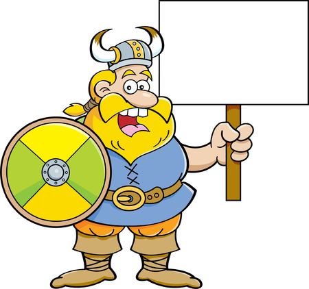 headgear: Cartoon illustration of a Viking holding a sign