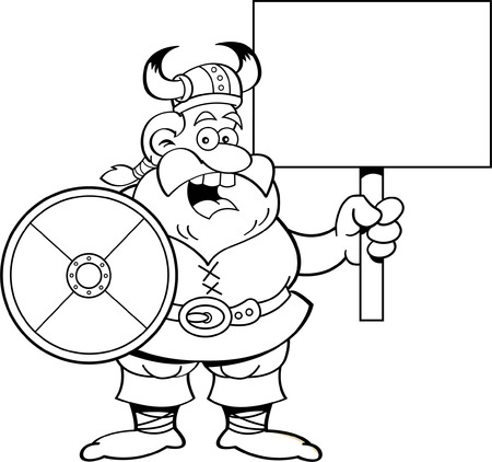 Black and white illustration of a Viking holding a sign