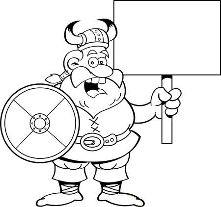 Zwart-wit afbeelding van een Viking met een bordje Stock Illustratie