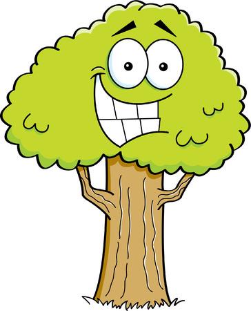 Cartoon illustration of a smiling tree  Ilustracja