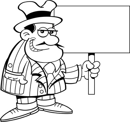 thug: Black and white illustration of a criminal holding a sign