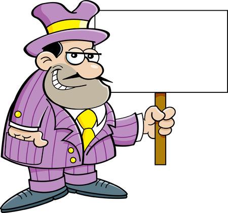 hoodlum: Cartoon illustration of a criminal holding a sign  Illustration